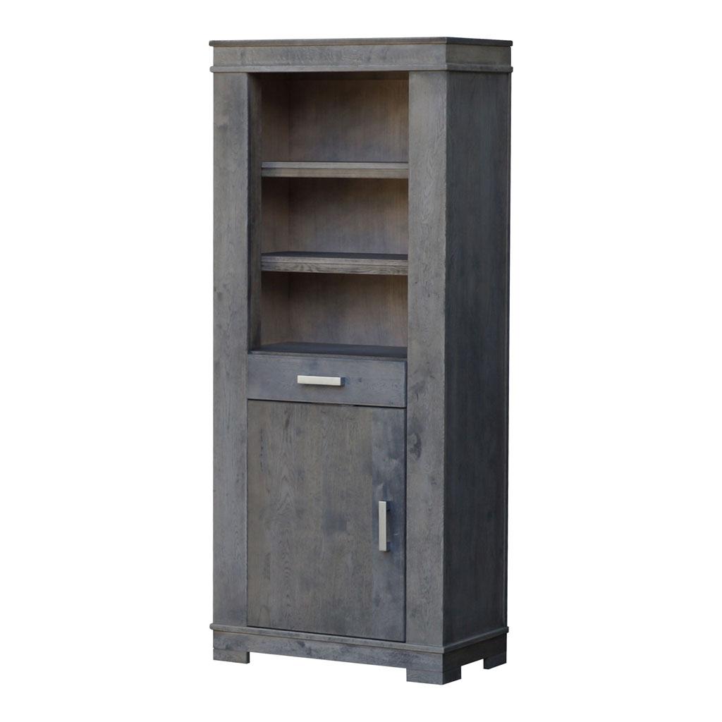 boekenkast liverpool met deur en lade in pole grey