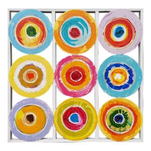 Schilderij Cirkels Op Hout 100x100