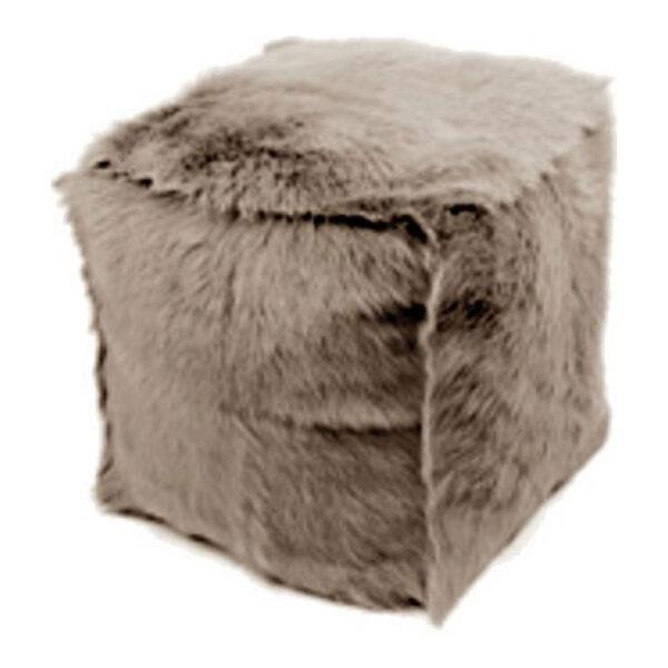 Stool Cube Goatskin Stone Grey 330-415-152